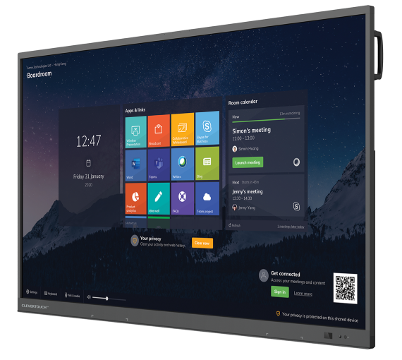 """Powerful and feature-rich 4k touchscreen Full range of sizes: 55"""" 4k 